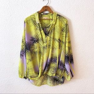 Gibson Latimer Lime Neon Twist Front Hi Low Blouse